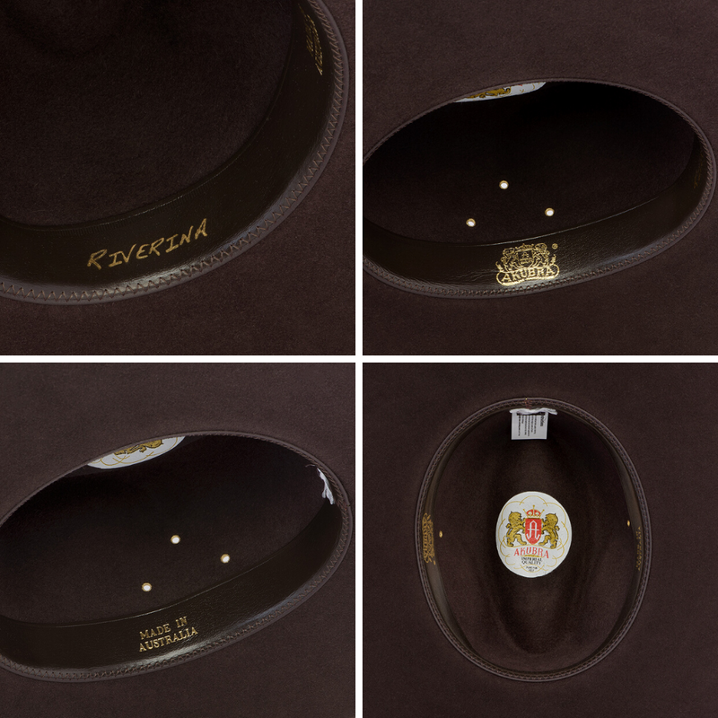 Compilation of images of interior  of Akubra Riverina hat in Loden colour