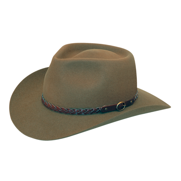Angle view of Akubra Stockman hat in Santone colour