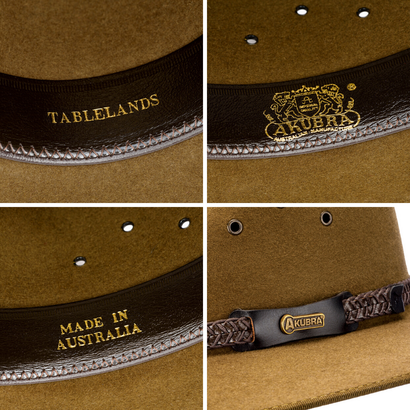 compilation of interior detail images for Akubra Tablelands hat in brown olive colour