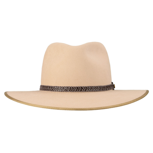 Front view of Akubra Tablelands hat in sand colour