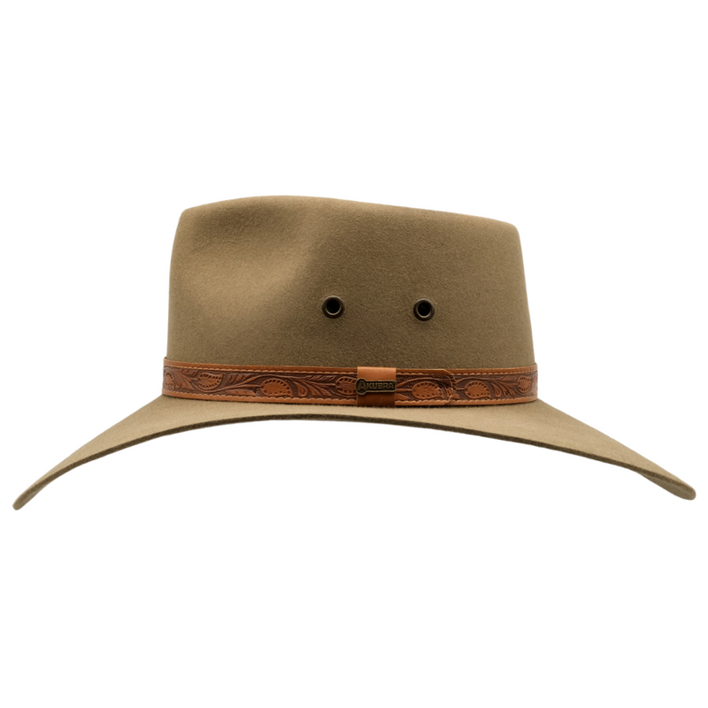 Side view of the Akubra Territory hat in Santone colour