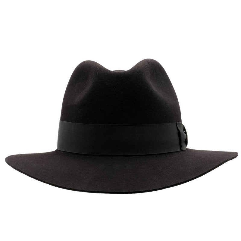 Front on view of the black Akubra Adventurer style hat