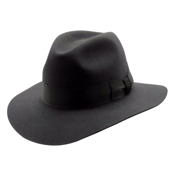angle view of Akubra Adventurer hat in Graphite Grey