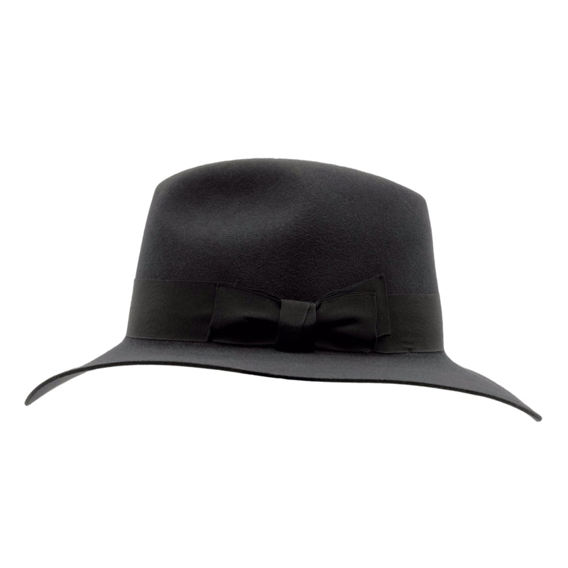 side view of Akubra Adventurer hat in Graphite Grey