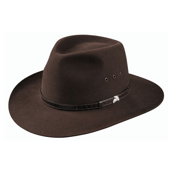 Angle view of Akubra Angler Hat in loden colour