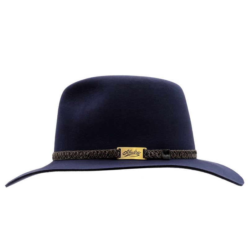 side view of the Akubra Avalon hat in Federation Navy colour