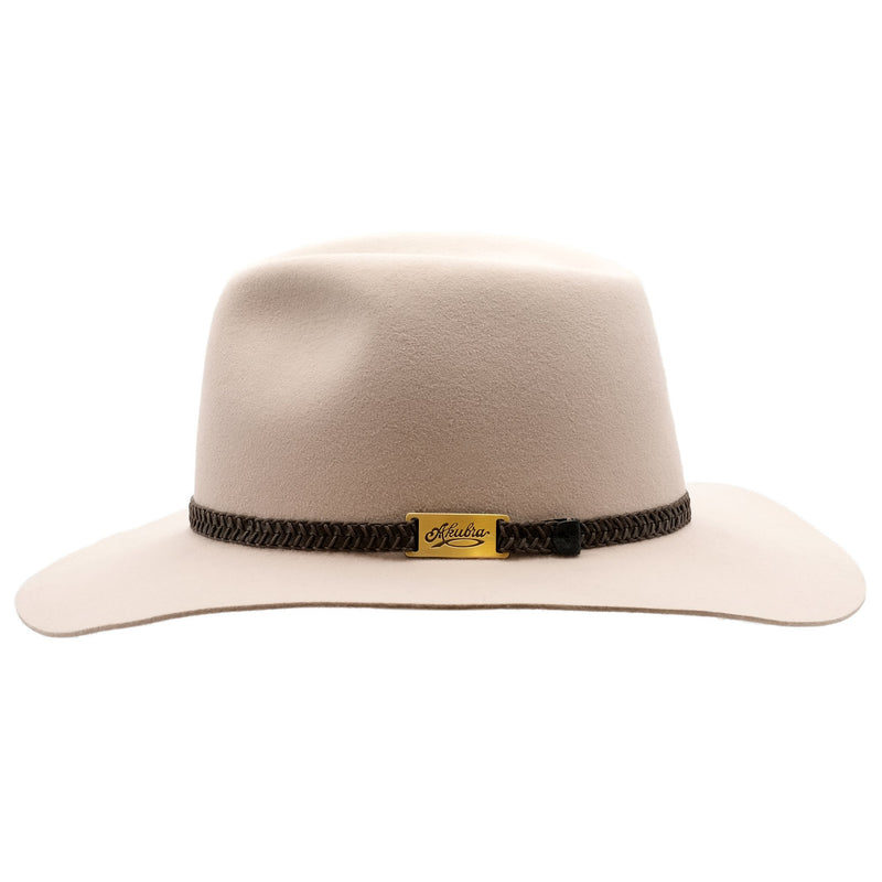 side view of the Akubra Avalon hat in light sand colour