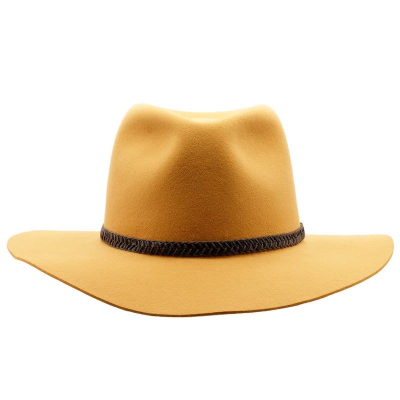 Front view of Ochre coloured Akubra Avalon hat