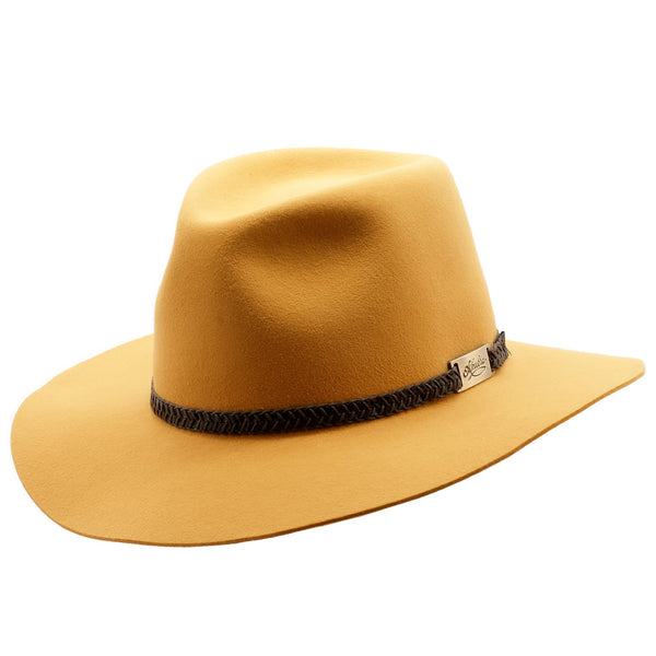 Angle view of Ochre coloured Akubra Avalon hat