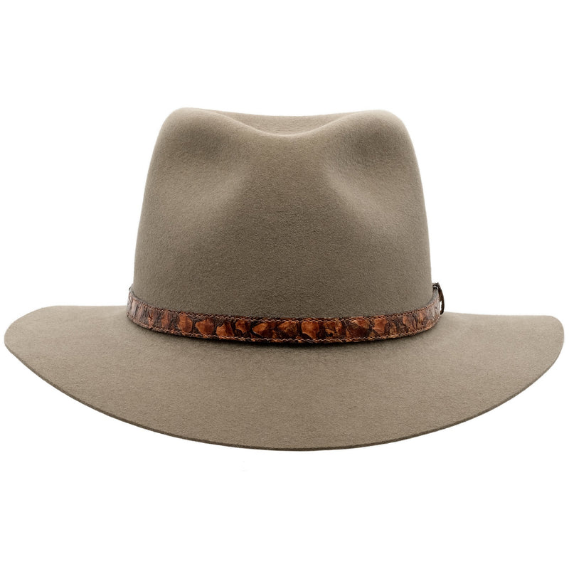 Front view of Akubra Banjo Paterson hat in Heritage Fawn colour