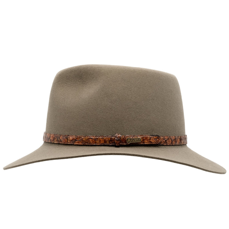 Side view of Akubra Banjo Paterson hat in Heritage Fawn colour