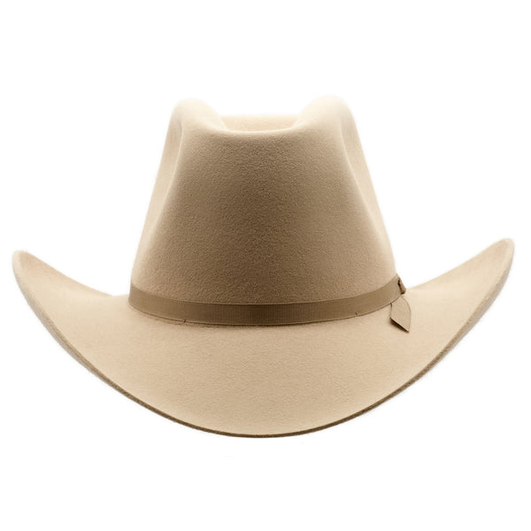 Front on view of Sand coloured Akubra Bobby hat
