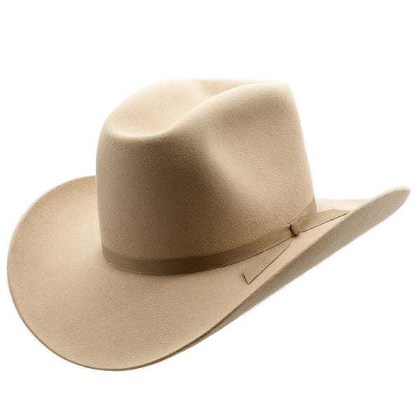 Angle view of Sand coloured Akubra Bobby hat