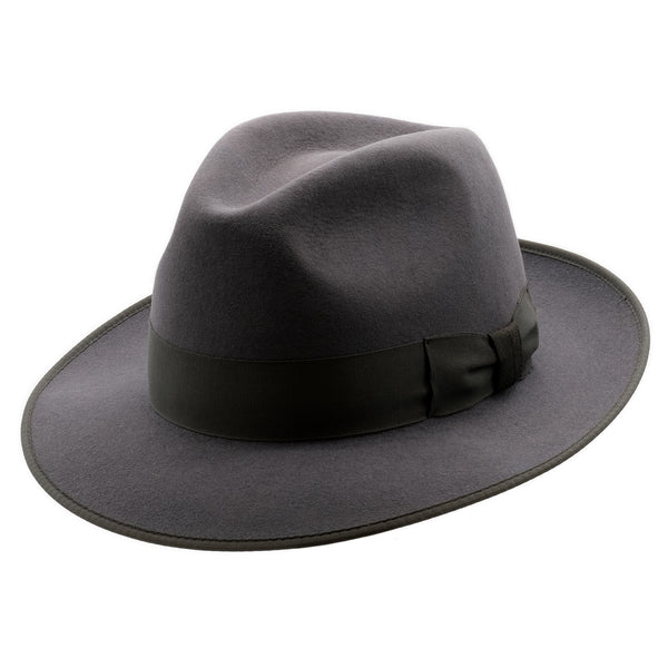 Angle view of Akubra Bogart hat in Carbon Grey