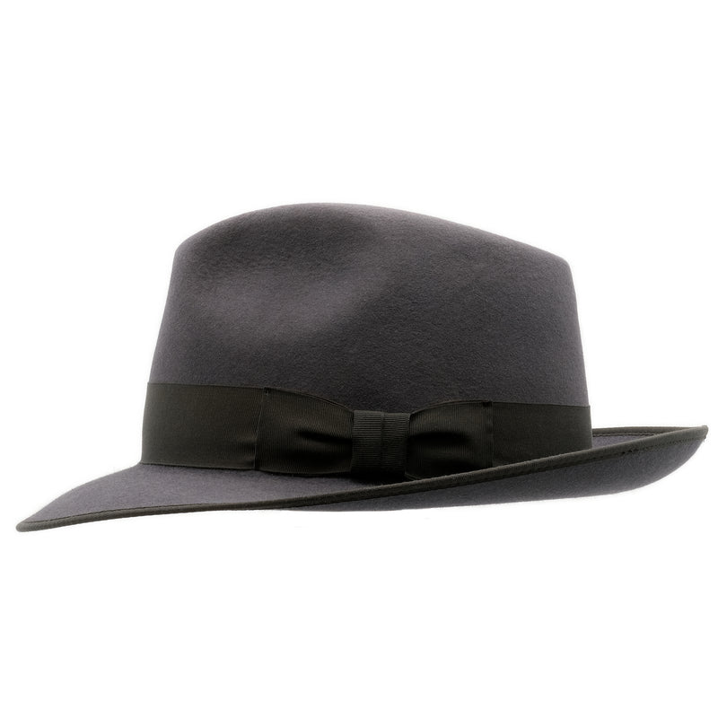 Side on view of Akubra Bogart hat in Carbon Grey