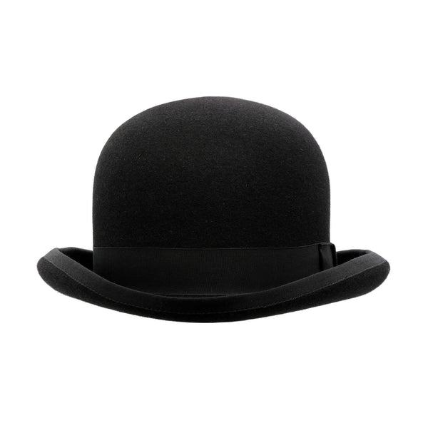 Front-on view of the Akubra Bowler hat in Black
