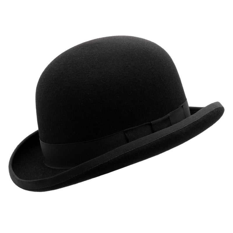 Angle view of the Akubra Bowler hat in Black
