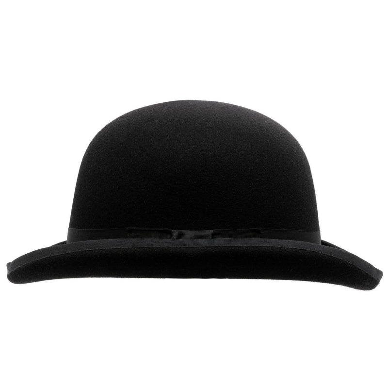 Side-on view of the Akubra Bowler hat in Black