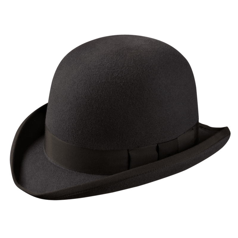 Angle view of Akubra Bowler hat in Carbon Grey colour