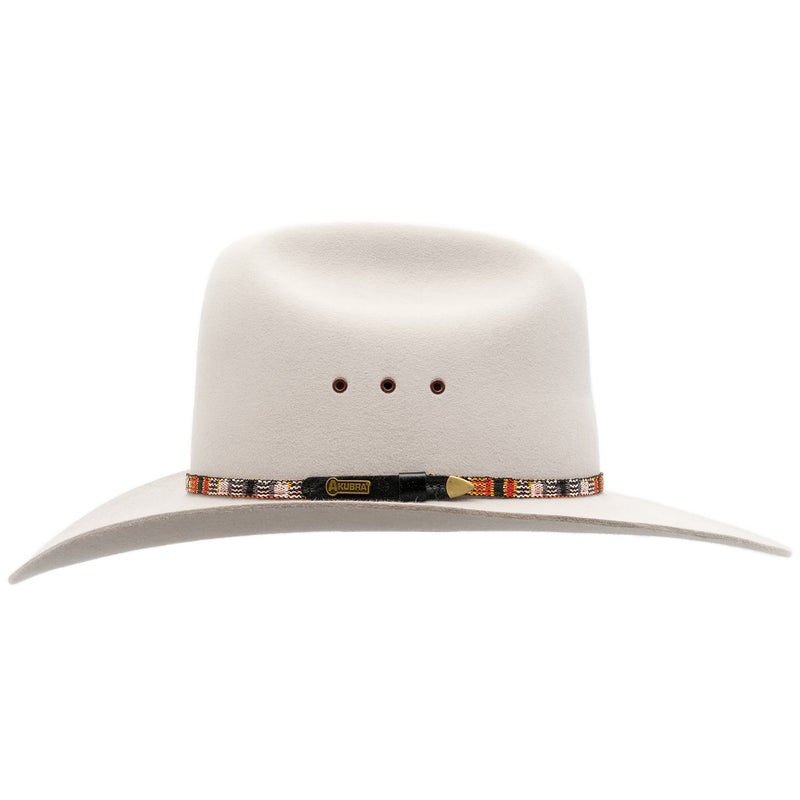 Side view of the Akubra Bronco hat in Quartz colour