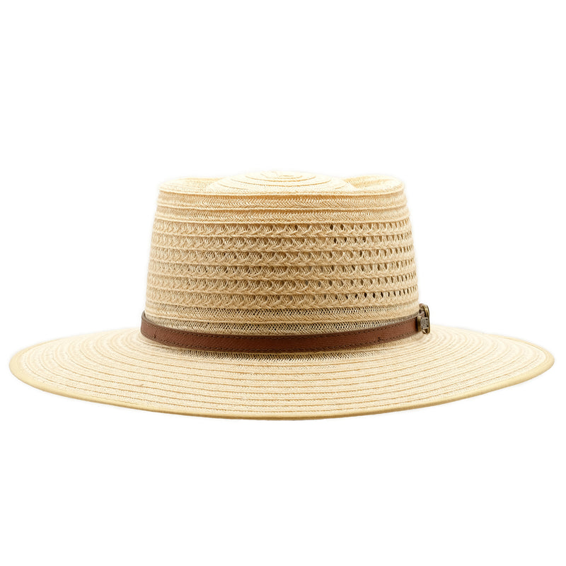 Front view of Akubra Byron in Natural Straw colour