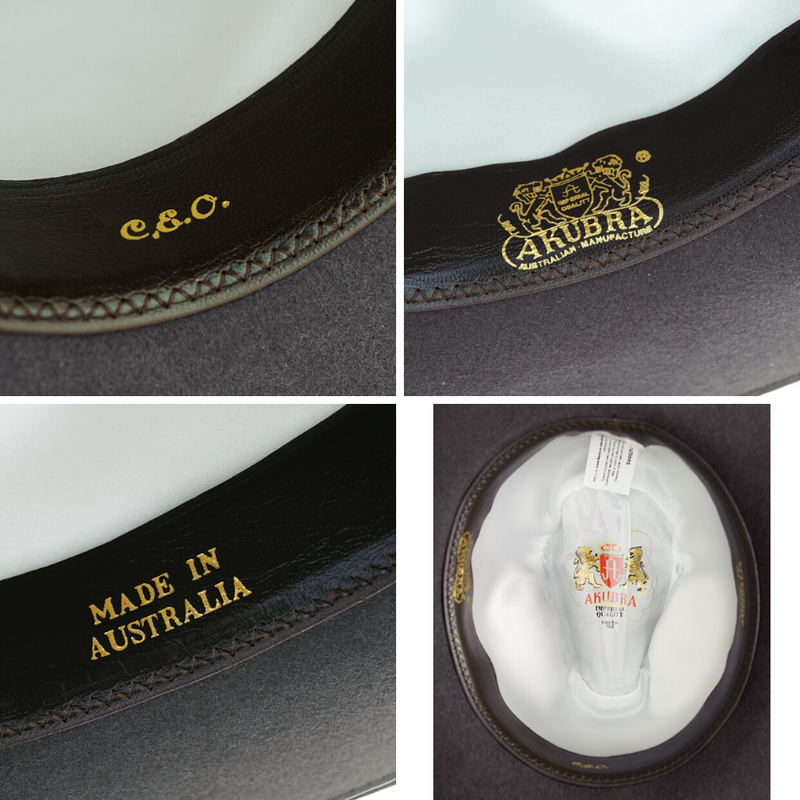 Compilation of interior images of the Akubra CEO hat in Cruiser Grey colour.