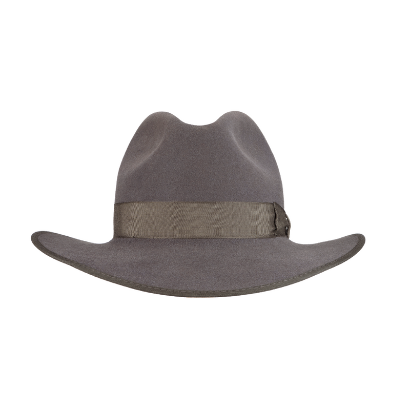Front view of Akubra CEO hat in Cruiser Grey colour.