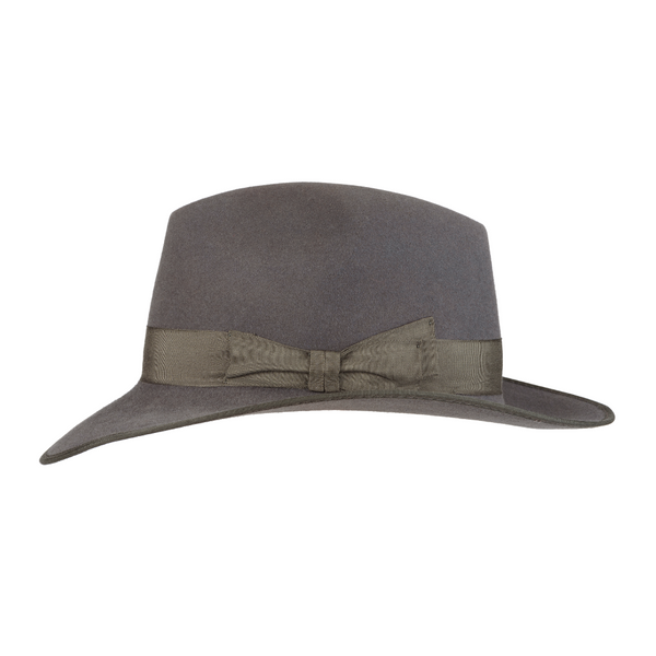 Side view of Akubra CEO hat in Cruiser Grey colour.