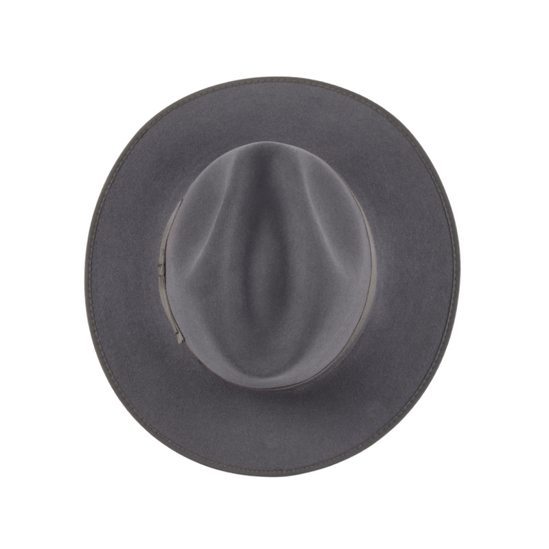 Akubra CEO hat in Cruiser Grey colour, shown looking down on crown to show shape,