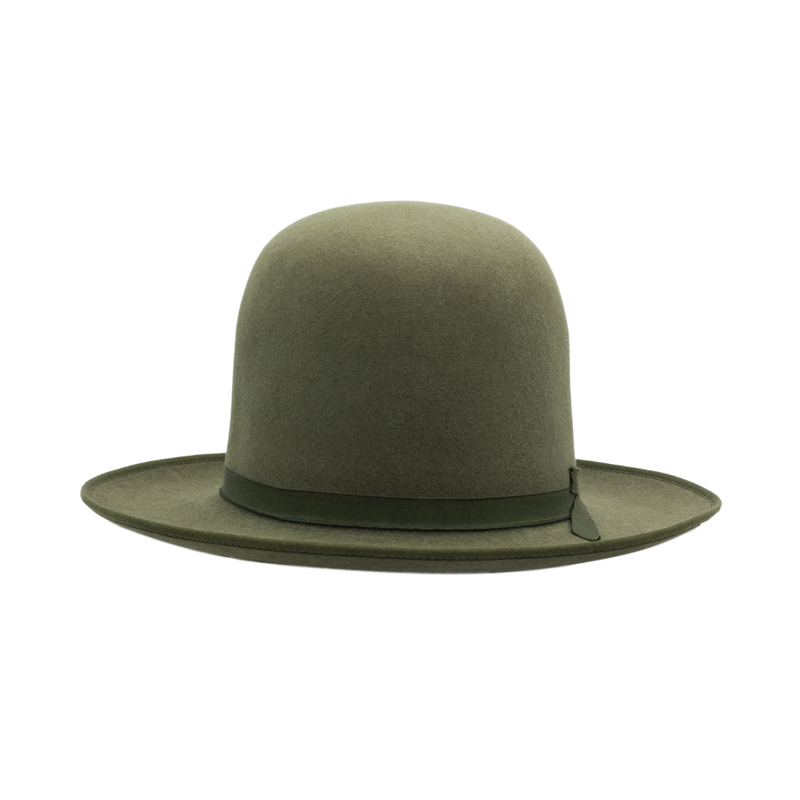Front view of Akubra Campdraft in Bluegrass Green colour, shown with open crown