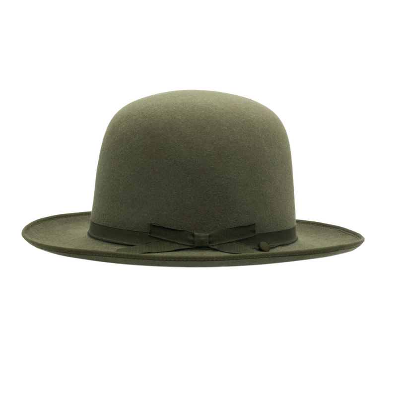 Side view of Akubra Campdraft in Bluegrass Green colour, shown with open crown