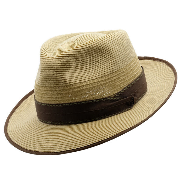 Angle view of Akubra Capricorn hat in Fawn colour