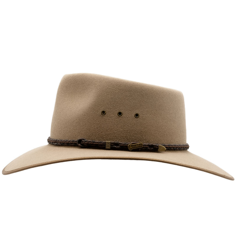 Side view of the Akubra Cattleman hat in Bran colour