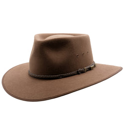 Angle view of Akubra Cattleman hat in Fawn colour