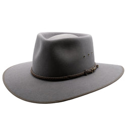 Angle view of the Akubra Glen Grey Cattleman hat