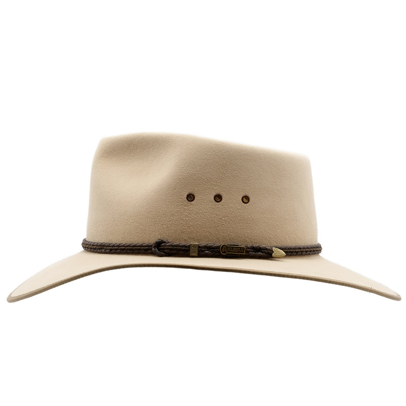 side view of the Akubra Cattleman hat in sand colour