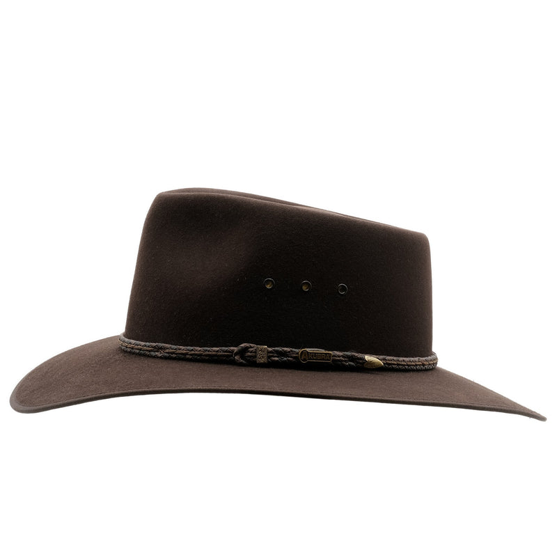 side view of the Akubra Cattleman in tanbark brown colour