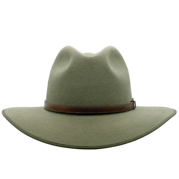 Front view of Akubra Coober Pedy hat in Bluegrass green colour