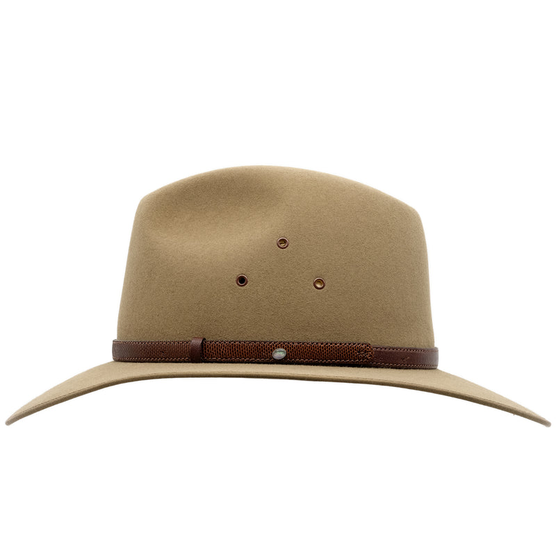 Side view of the Akubra Coober Pedy hat in Santone colour