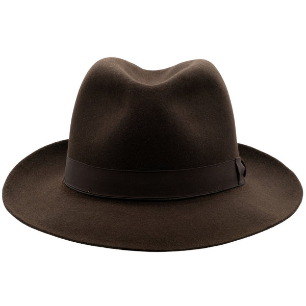 Front view of Akubra Fedora hat in Burnt Oak colour with shaped crown