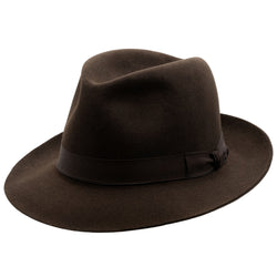 Angle view of Akubra Fedora hat in Burnt Oak colour with shaped crown