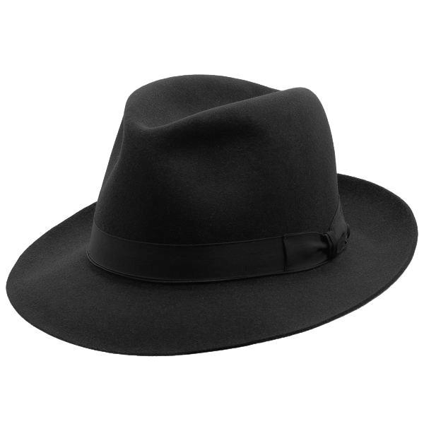 Angle view of the Akubra fedora style hat in black
