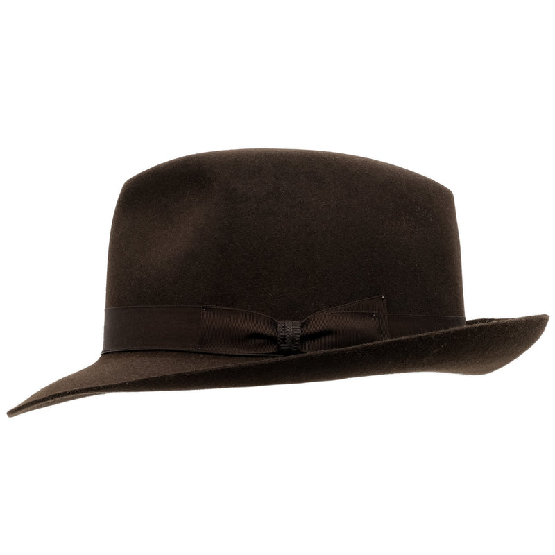 Side view of Akubra Fedora hat in Burnt Oak colour with shaped crown