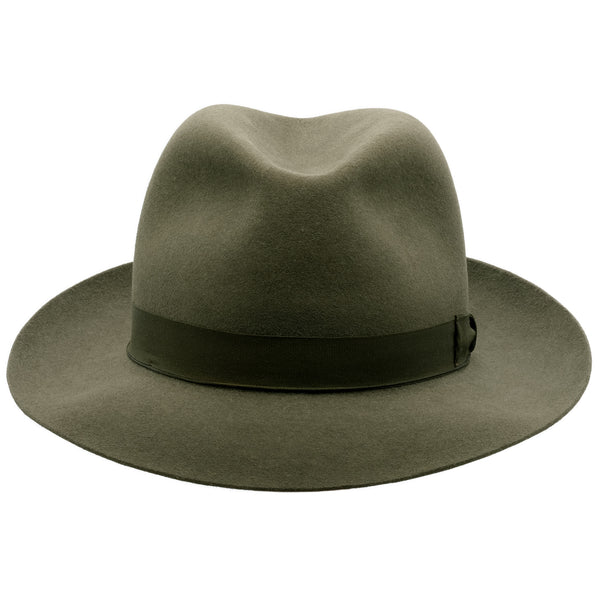 Front view of Akubra Fedora style hat in Fern green colour, shown with shaped crown