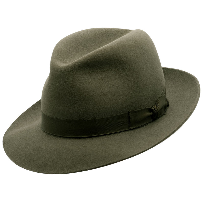 Angle view of Akubra Fedora style hat in Fern green colour, shown with shaped crown
