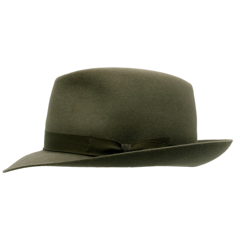 Side view of Akubra Fedora style hat in Fern green colour, shown with shaped crown