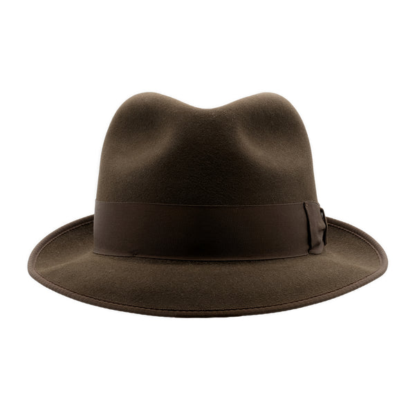 Front view of Akubra Hampton hat in Cedar Brown colour