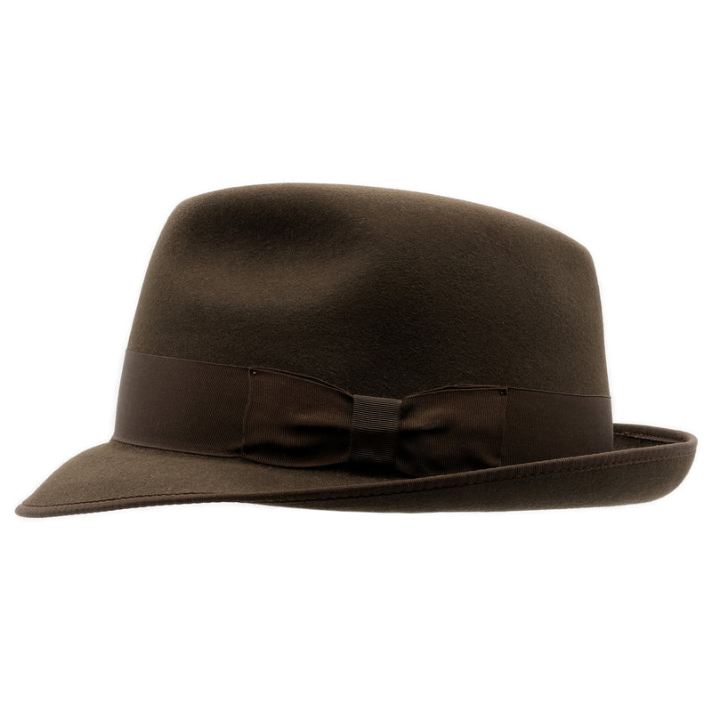 Side view of Akubra Hampton hat in Cedar Brown colour