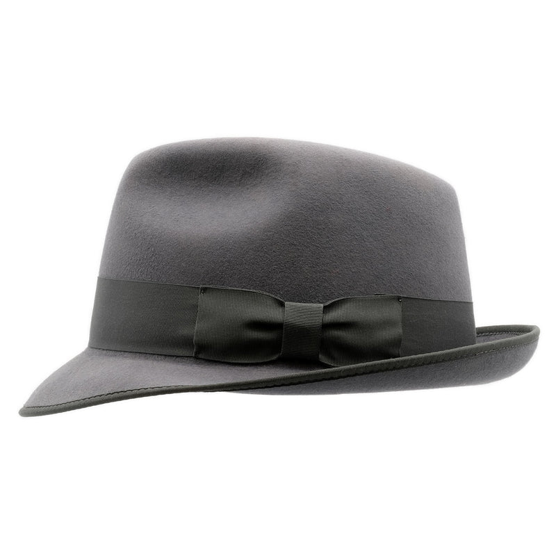 Side view of Akubra Hampton hat in Cruiser Grey colour