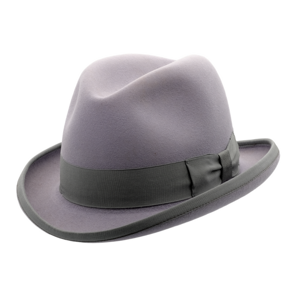 Angle view of Akubra Homburg in Cloud (grey) colour